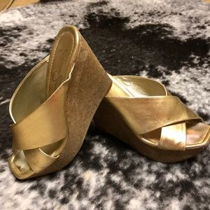 Great gold platform wedge slip on